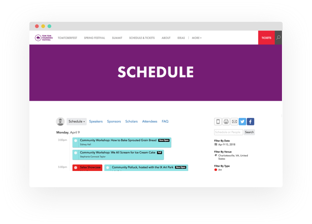 Embed your schedule
