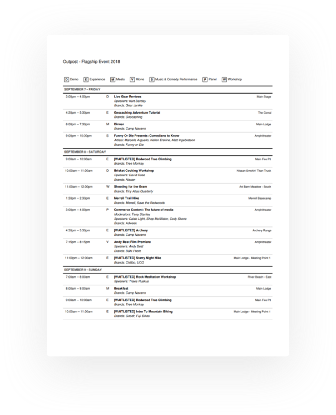 Print schedules in one click
