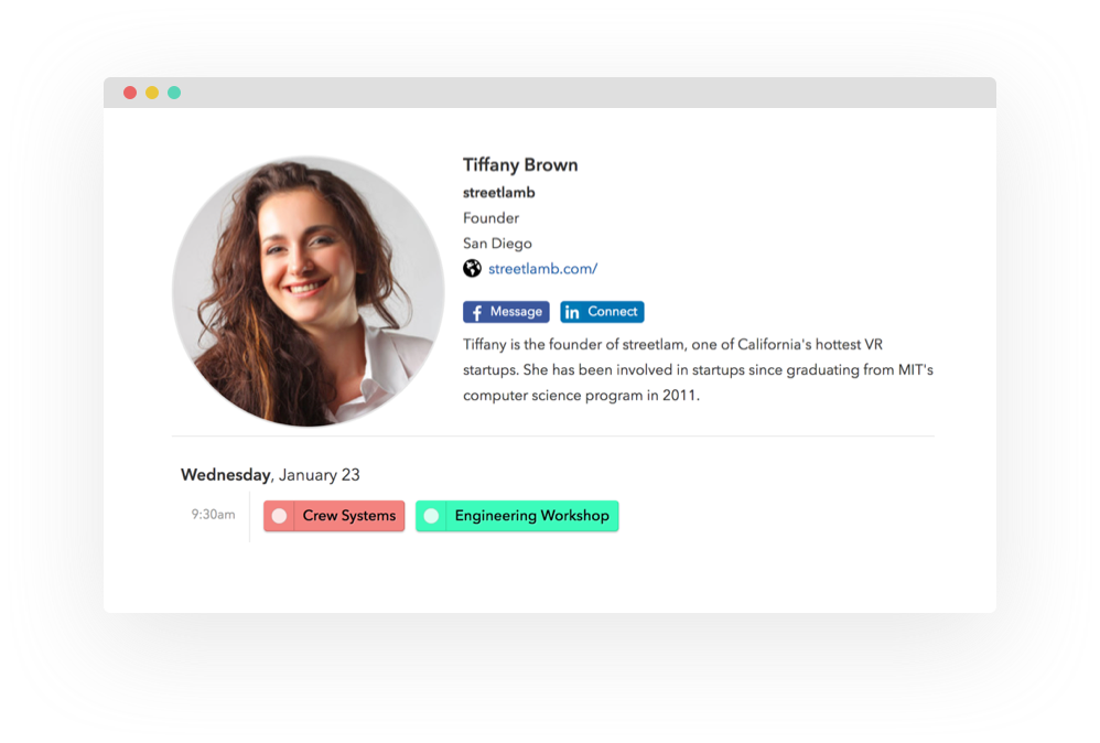 Personalized attendee profiles