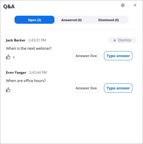 Questions & Answers on Zoom Webinars