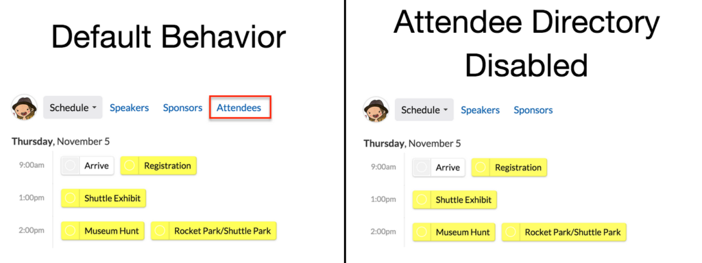 Attendee Directory Disabled