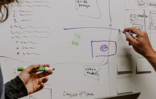 collaborative hands gesture while holding markers in front of a whiteboard with notes scribbled on it